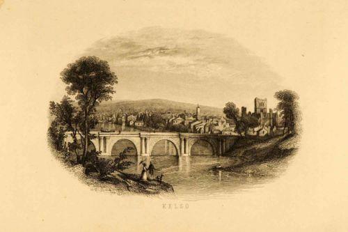 1852. Kelso, Scotland - Abbey Bridge - Steel Engraving