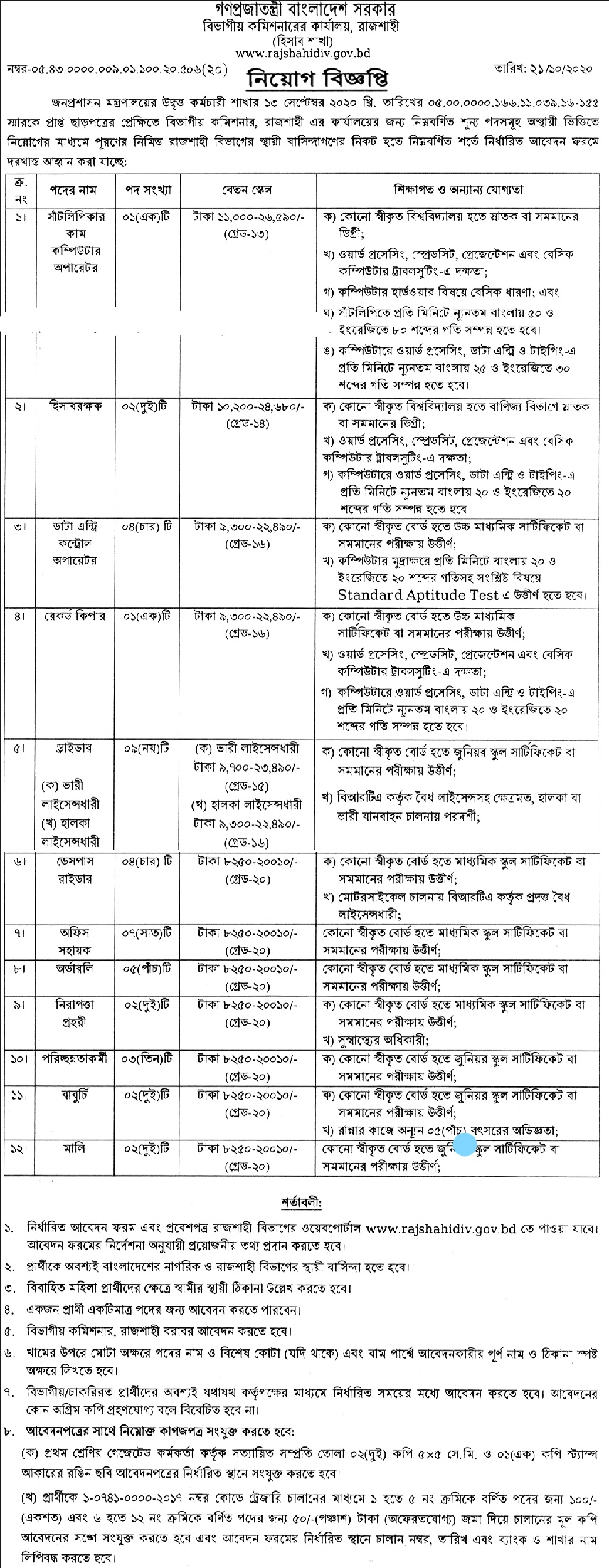 Divisional Commissioner Office Job Circular 2020
