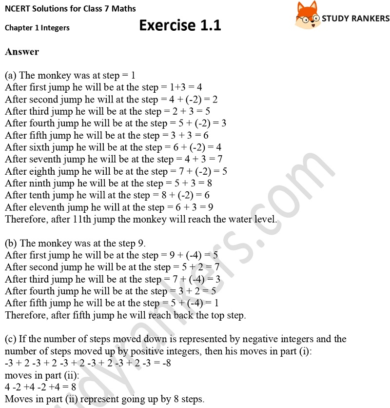NCERT Solutions for Class 7 Maths Ch 1 Integers Exercise 1.1 6