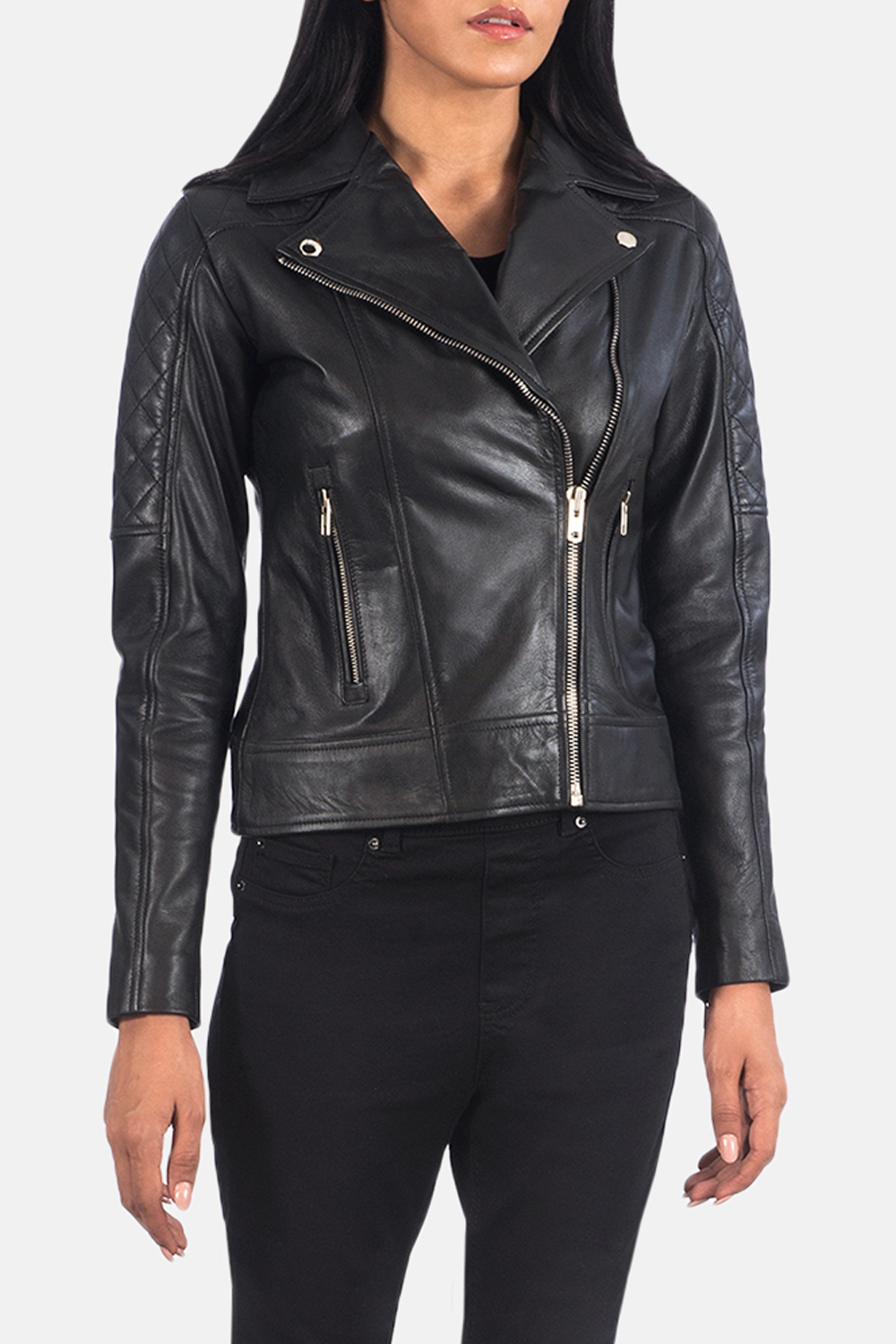 a lookbook snapshot of a woman wearing leather jacket