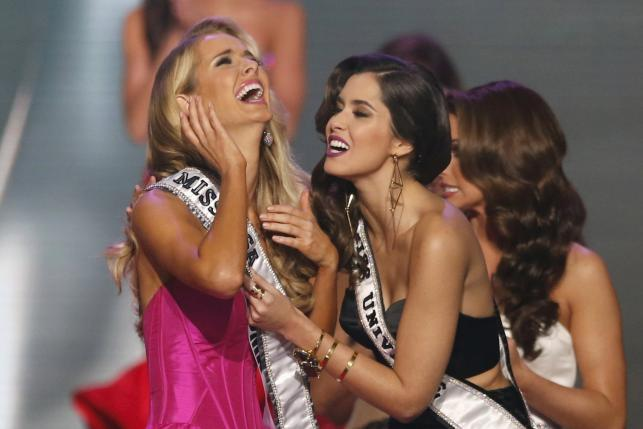 Olivia Jordan reacts after winning the 2015 Miss USA Pageant