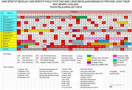 Kalender Pendidikan SMK Tahun Ajaran 2017-2018 Lengkap Dengan Hari Efektif dan Fakultatif