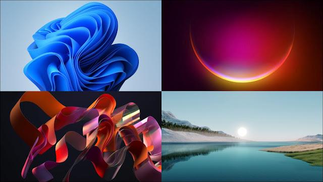 أربعة أمثلة لخلفيات Windows 11