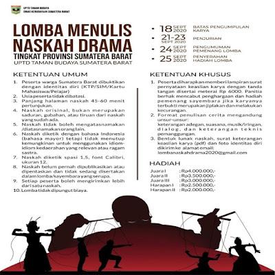 Lomba Menulis Naskah Drama Tingkat Provinsi Sumatera Barat | Oleh UPTD Taman Budaya Sumatera Barat