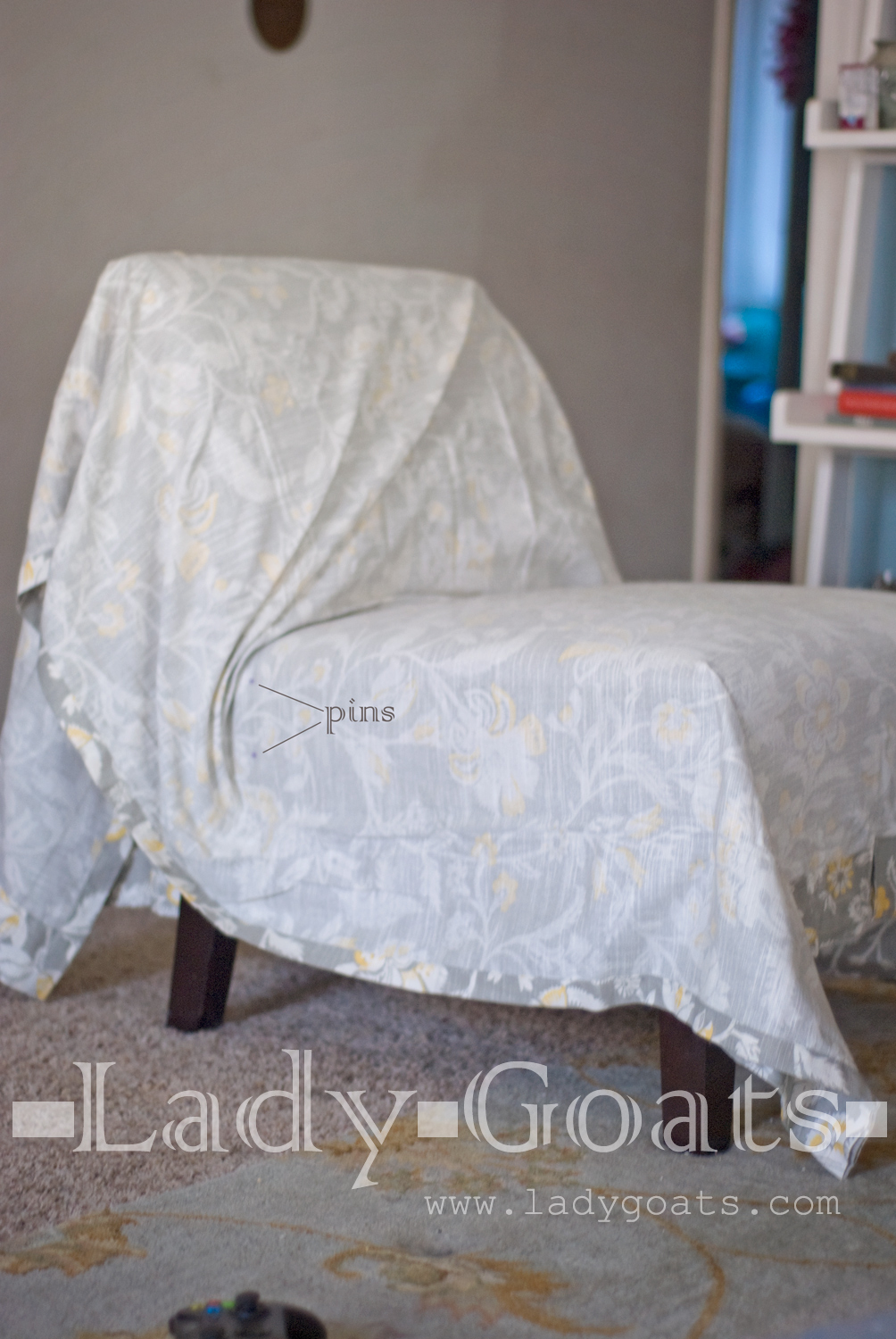 slipcover for armless slipper chair ergonomic meaning lady goats diy without a template