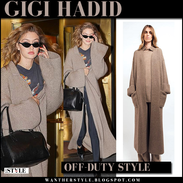 Gigi Hadid in brown knit long cardigan mandkhai model street style april 17