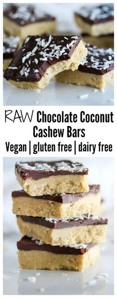 Chocolate coconut cashew bars made with simple, clean ingredients for a sweet treat that you can feel good about eating. Vegan, gluten free and dairy free.