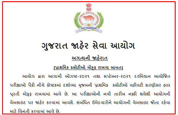 GPSC Important Notice regarding postponement of Preliminary Examination for the post of Advt. No. 74,134,135, 136,148 and 153/2020-21
