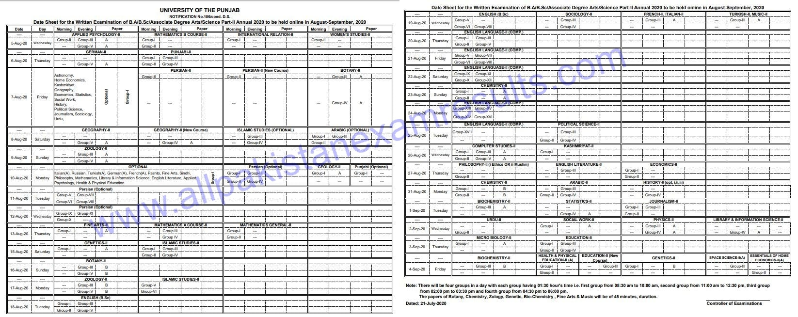 Punjab University BA Annual Date Sheet 2020