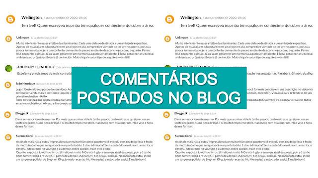 Comentários postados no Blog