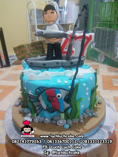 Kue Tart Tema Memancing Ikan
