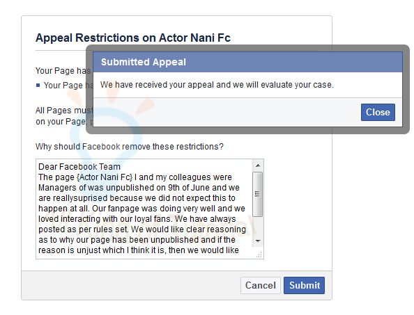 how to appeal facebook offer