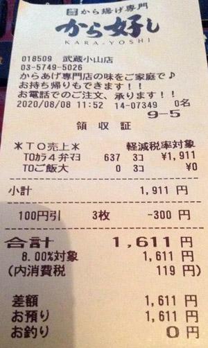 から好し 武蔵小山店 2020/8/8 テイクアウトのレシート