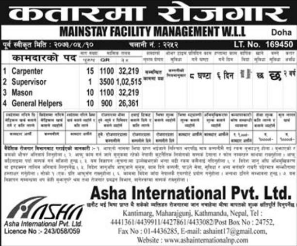 Jobs For Nepali In QATAR Salary -Rs.1,02,515/
