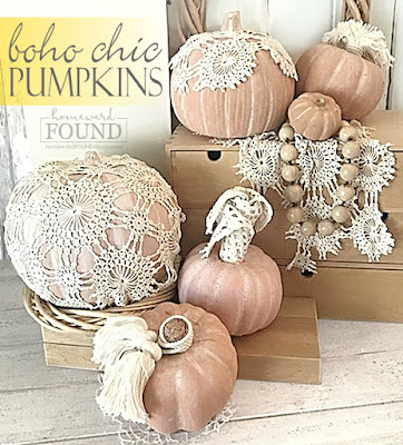 coastal style,beach style,decorating,diy decorating,re-purposing,white,DIY,vintage style,boho style,neutrals,vintage,thrifted,fall,pumpkins,fall decorating, pumpkin decor, decorating with pumpkins, diy pumpkins,lace pumpkins, crochet lace pumpkins,fall home decor,farmhouse decor, add lace doilies to pumpkins for boho style, boho chic fall home decor