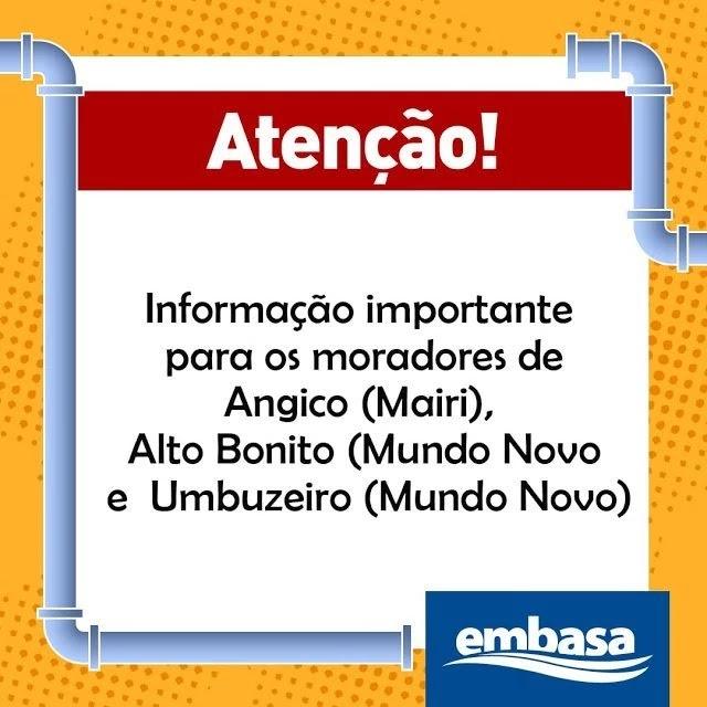 localidades de Angico (Mairi) e Umbuzeiro (Mundo Novo)