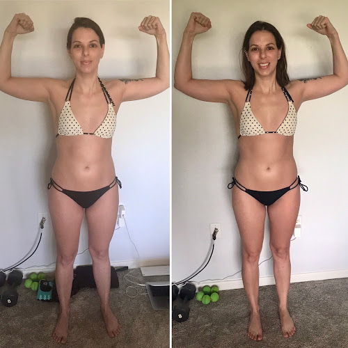 Face-forward side-by-side photos of Ali Flexing, showing minimal changes in her ab definition