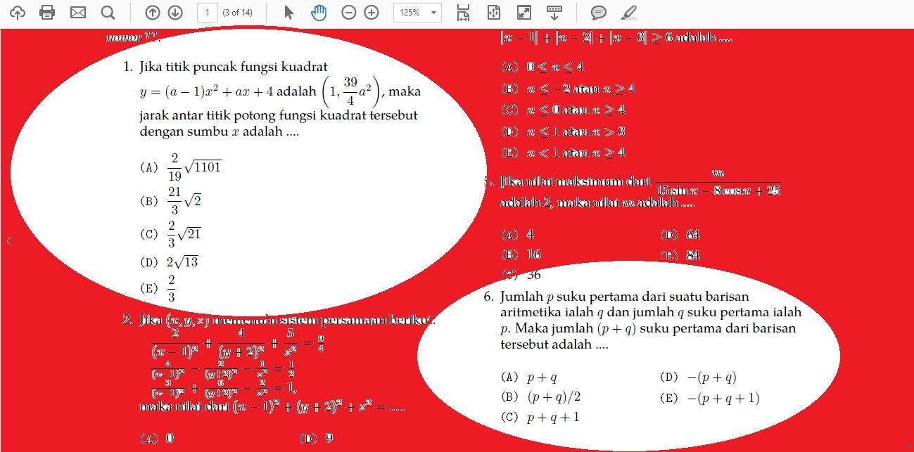 Soal Matematika IPA Simak UI Kode 504 (*Tidak Selesai Di Kelas)