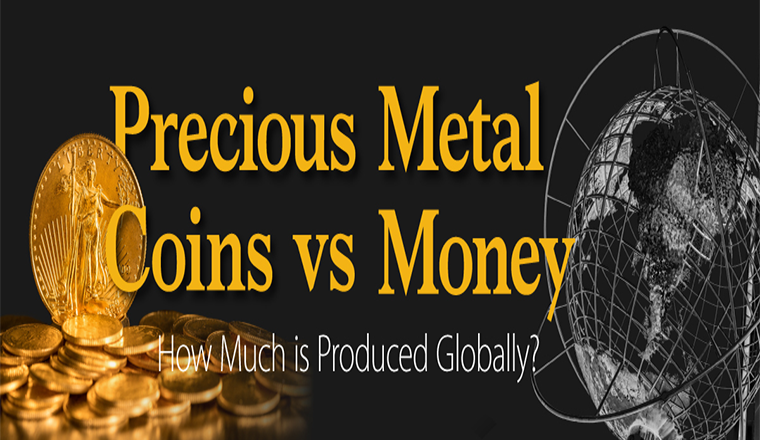 The World's Gold and Silver Coin Production vs. Money Creation #infographic