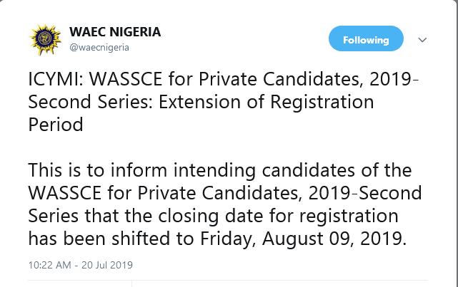 UTME-NG: WAEC Extends Registration Date For WASSCE GCE Nov