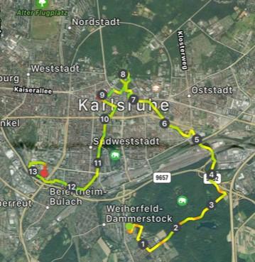 Die Strecke des 1/3 Marathon in Karlsruhe