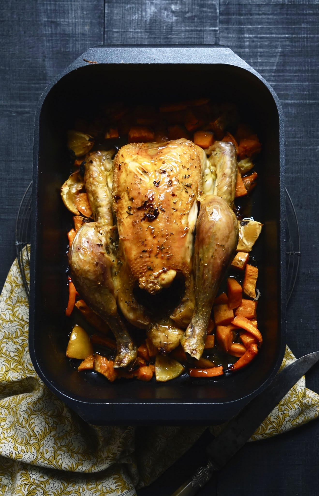 poulet rôti , plat du dimanche , citron confit