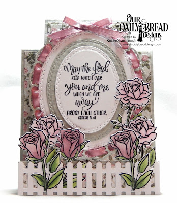 Our Daily Bread Designs Custom Dies: His Love Endures, Custom Dies: Center Step Card A2, Center Step A2 Layers, Fence, Oval Stitched Rows, Layered Lacey Ovals, Paper Collection: Romantic Roses
