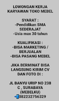 Bursa Kerja Surabaya di Toko Mebelku Juni 2021