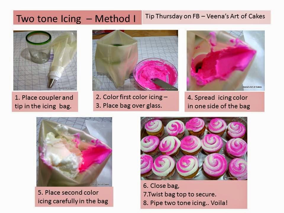 How to make two tone icing piping bags - Veena Azmanov