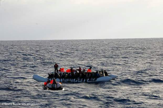 Photos: 115 African migrants including 11 women, a baby and 31 unaccompanied minors rescued from rubber boat off Libyan coast