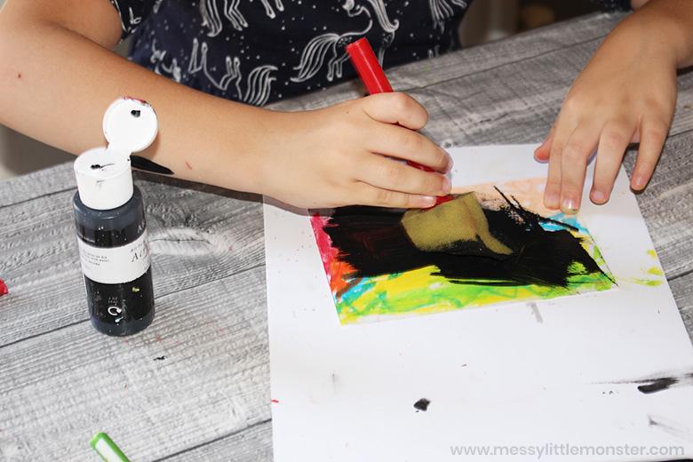 diy scratch art for fish art for kids