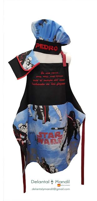 delantal y gorro cocinero star wars personalizados