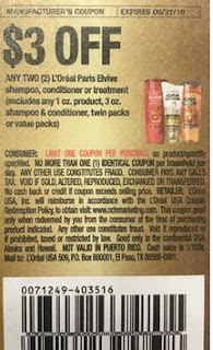 """$3/2 Loreal Paris Elvive Shampoos, Conditioner Or Treatment Excludes Any 1oz Product, 3oz Shampoo And Conditioner, Twin Packs Or Value Product (Limit 1)  Coupon from """"RMN"""" insert week of 9/8 (EXP:9/21)."""