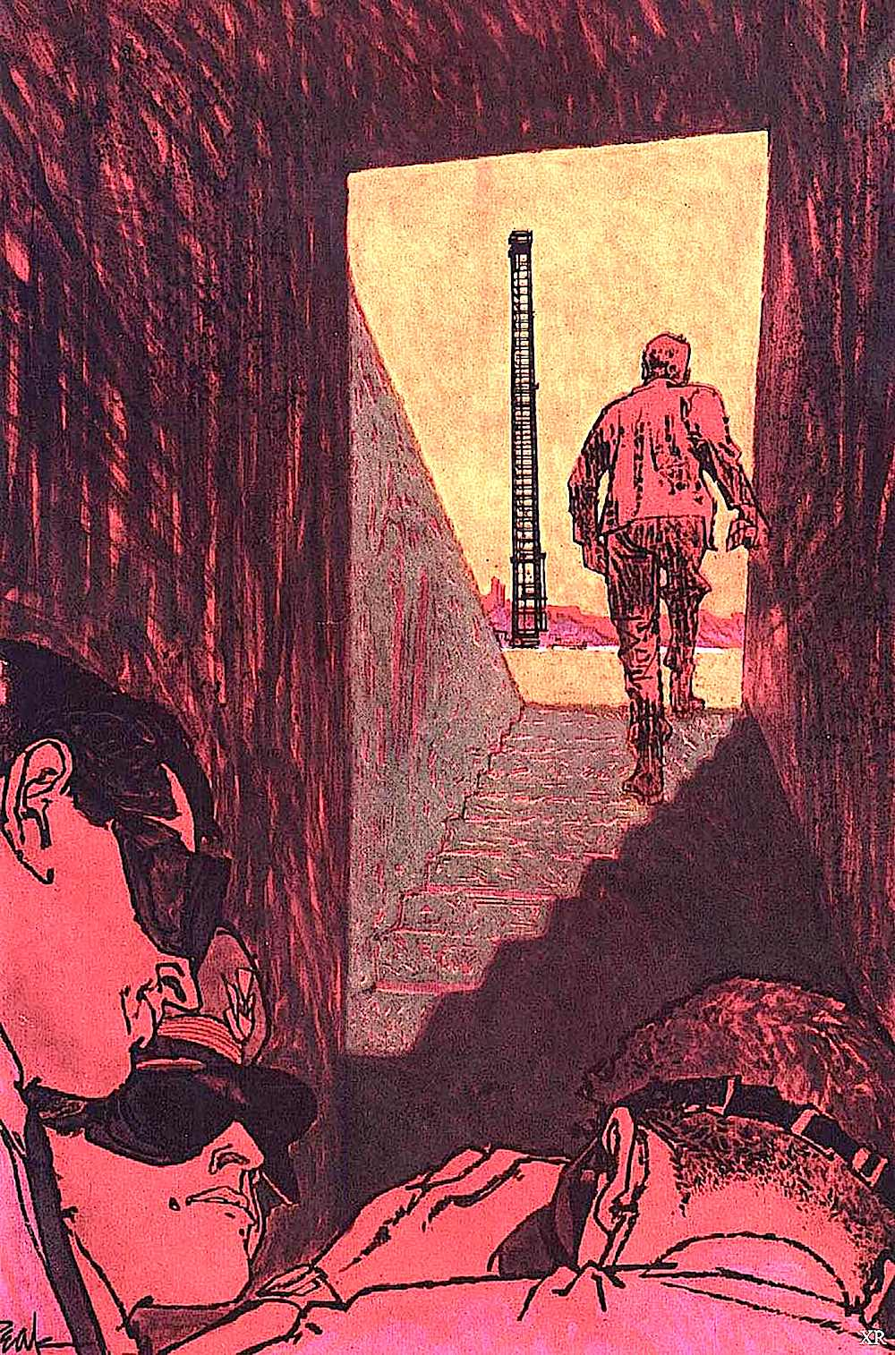 a Bob Peak magazine illustration of nuclear scientists at a test site
