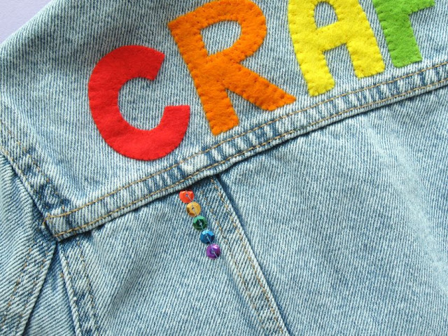 Add sparkle to a denim jacket with rainbow sequins