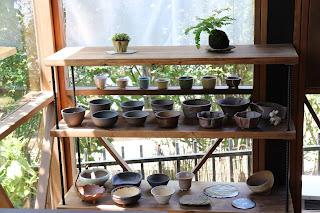 山野草盆栽用の鉢の並んだ棚