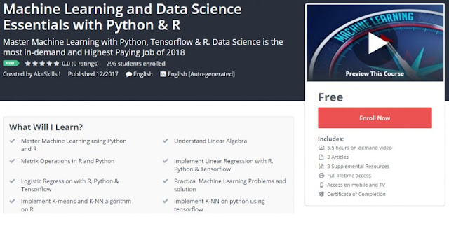 [100% FREE] Machine Learning and Data Science Essentials with Python & R