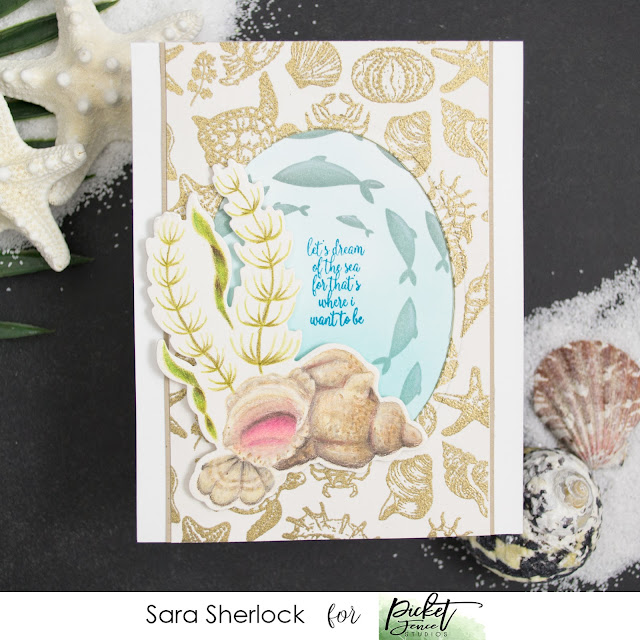 Picket Fence Studios, Wentletrap Shell Scene, View of the Sea, Current of Fish, Prismacolor Pencils, colored pencils, coloring, heat embossing, ink blending, Life changing blending brushes