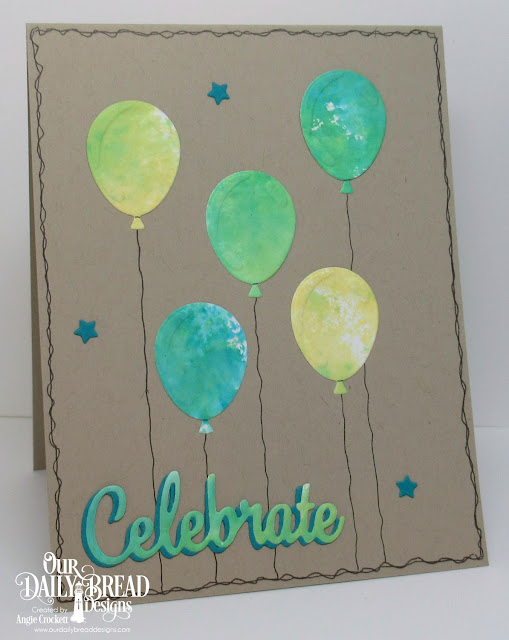 ODBD Custom Dies: Happy Birthday, Celebrate and Wish, Sparkling Stars; Card Designer Angie Crockett