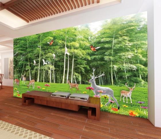 Tranh 3D Dán Tường Phong Cảnh Rừng Đàn Hươu Nai