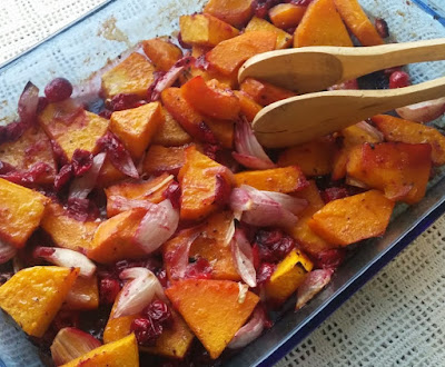 Butternut Squash Roasted with Shallots & Cranberries