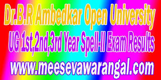 Dr.B.R Ambedkar Open University UG 1st 2nd - 3rd Year Spell-II   Exam Results