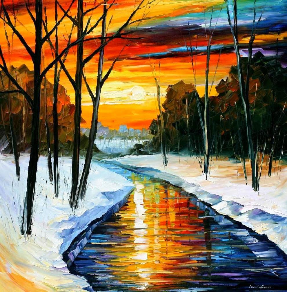 Winter - Pinturas de Leonid Afremov | O mestres da  espátula