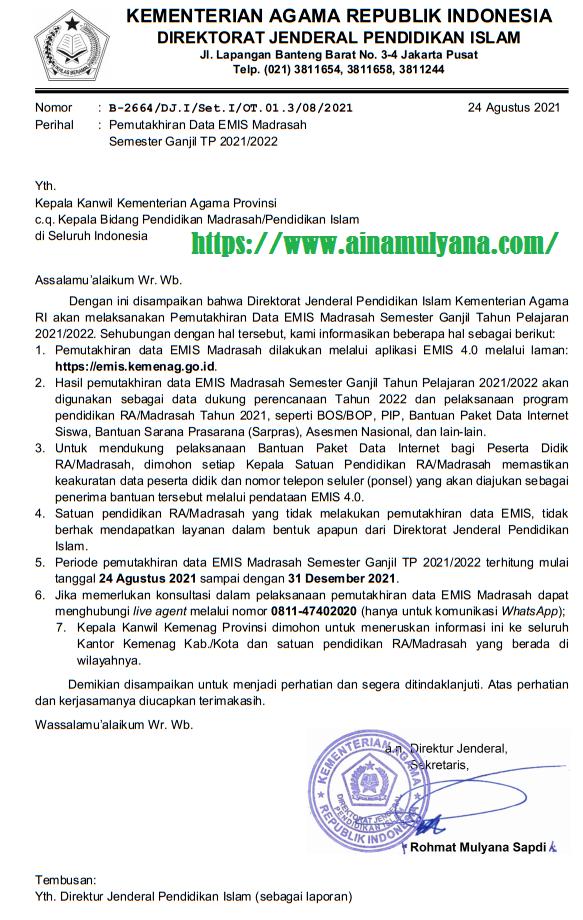 Surat Edaran Pemutakhiran Data EMIS Madrasah Semester Ganjil Tahun Pelajaran 2021/2022
