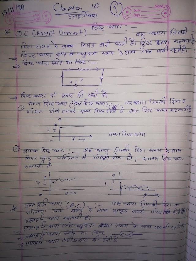 Alternating current 12th Physics Notes Pdf Download प्रत्यावर्ती धारा chapter 10