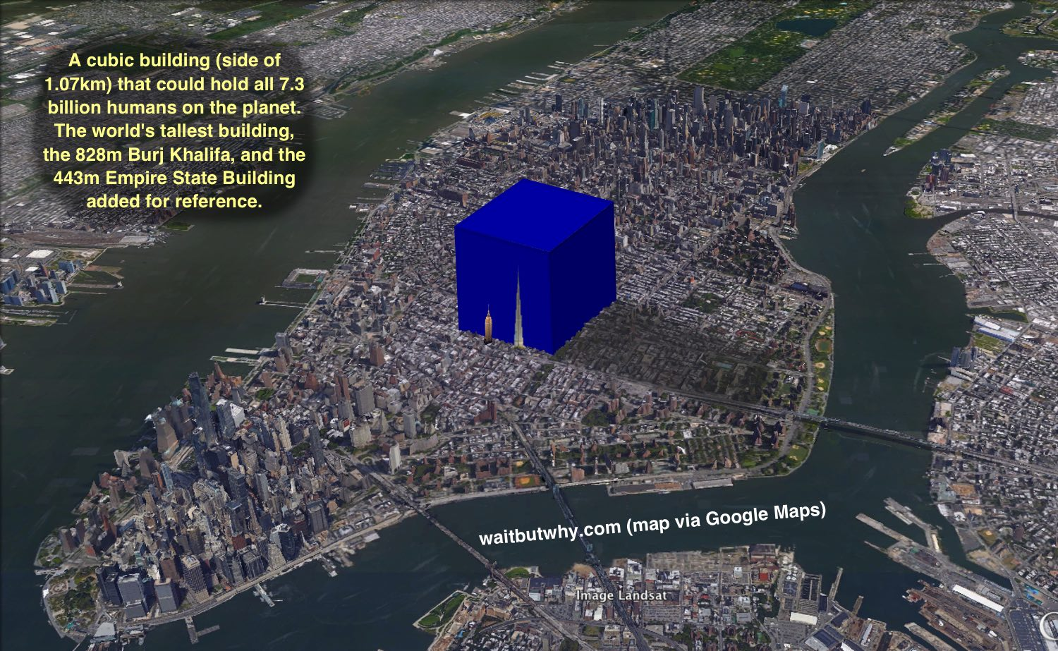 This cube superimposed over a map of Manhattan could hold all humans on the planet