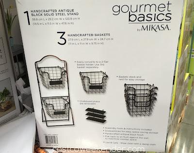 Costco 1049037 - Mikasa Gourmet Basics 3 Tier Market Basket - Handcrafted antique black solid steel
