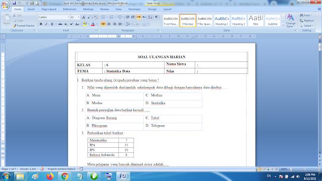 Soal Matematika Kelas 6 Statistika Data dan Kunci Jawaban Kurikulum 2013