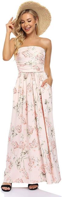 Best Floral Strapless Maxi Dresses