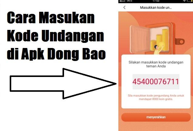 Cara Memasukan Kode Undangan di Dong Bao